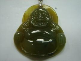 A貨 天然翡翠 彌勒佛墬 附 中國 寶石證書