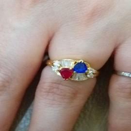 台中流當品拍賣 流當鑽石 超美 豪華 天然 紅藍寶石 K金 鑽戒 喜歡價可議
