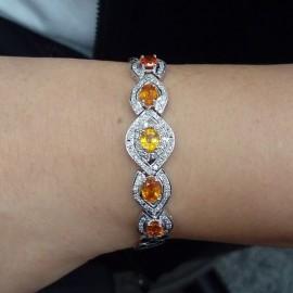 台中流當品拍賣 美品 超閃 5克拉 天然 黃寶石 K金 鑽石手鏈 特價出清 ZK060