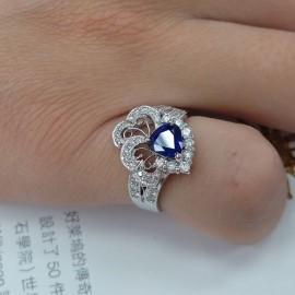台中流當品拍賣 流當鑽石 天然1.3克拉 藍寶石 K金 豪華鑽戒 喜歡價可議