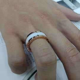台中流當品拍賣 真品 BVLGARI 寶格麗 B.ZERO1 玫瑰金 三環白陶瓷 戒指 8成新 喜歡價可議