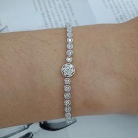 台中流當品拍賣 CTJ 經典 滿鑽 1克拉 D-F色 K金 鑽石手鍊 盒單齊全 喜歡價可議